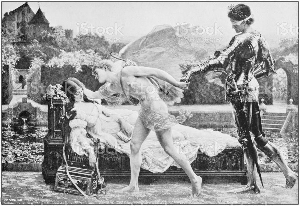 Antique photo of paintings: Mythology vector art illustration