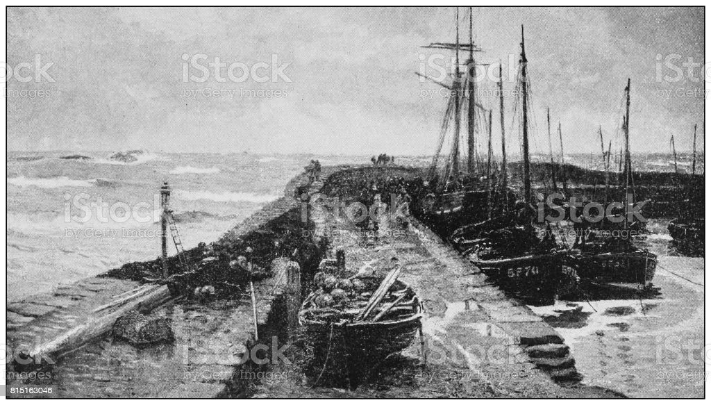 Antique photo of paintings: North sea dock vector art illustration