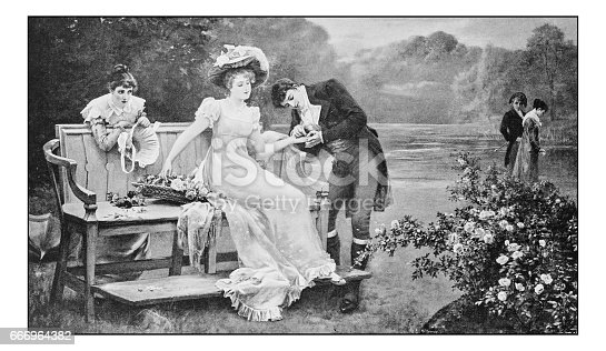 Antique dotprinted photo of paintings: People outdoors