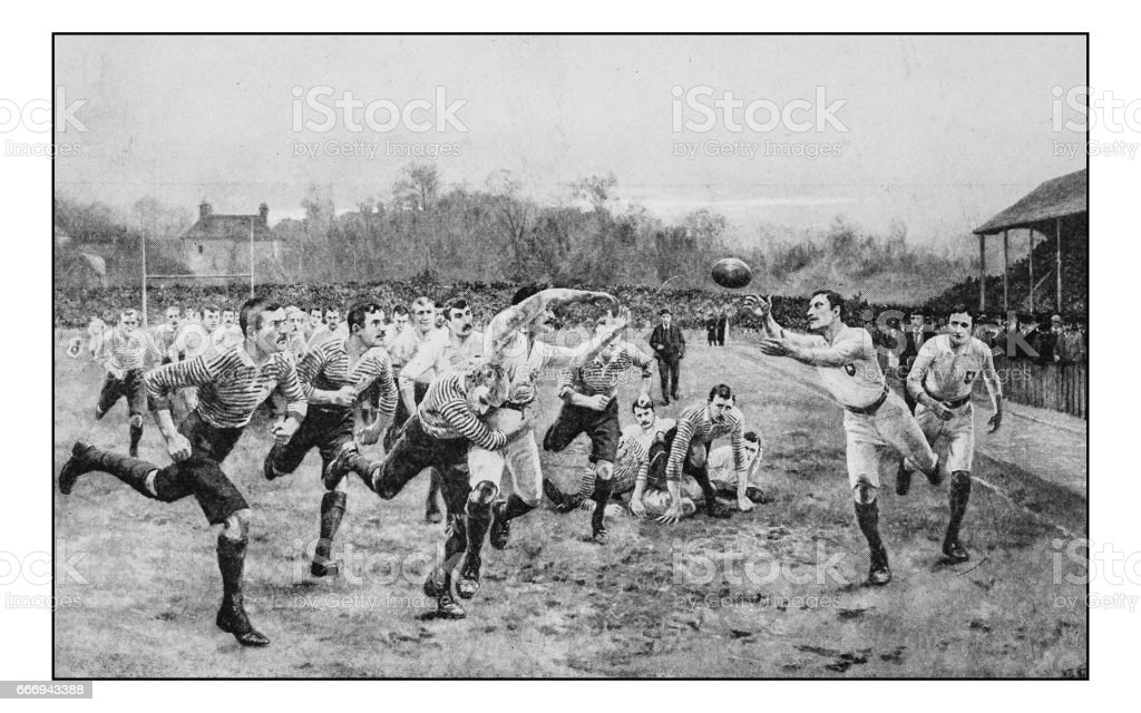 Antique photo of paintings: Rugby vector art illustration