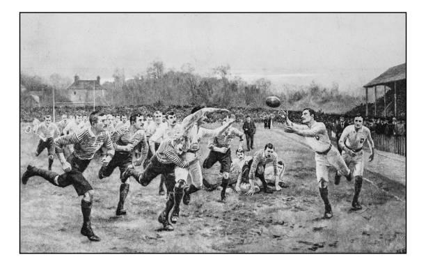 illustrations, cliparts, dessins animés et icônes de antique photo de peintures: rugby - rugby