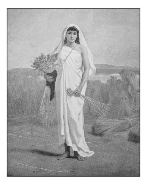 antique photo of paintings: ruth - ruth stock illustrations