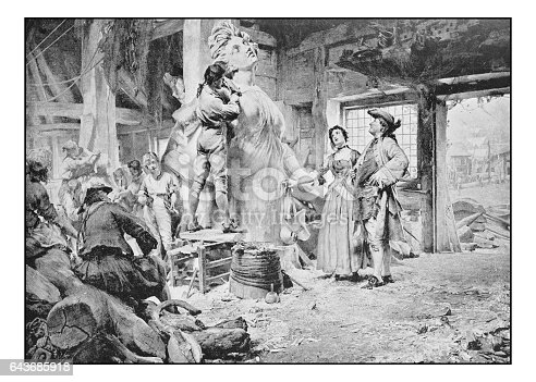 istock Antique photo of paintings: Sculptor 643685918