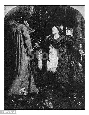 Antique dotprinted photo of paintings: The leper's wife