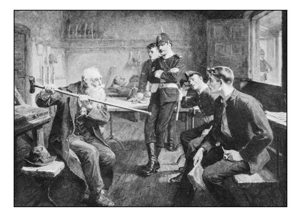 antique photo of paintings: veteran - old man pic pictures stock illustrations, clip art, cartoons, & icons