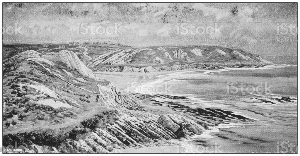 Antique photo of paintings: Whiteshell point, Caswell Bay (Limestone) vector art illustration