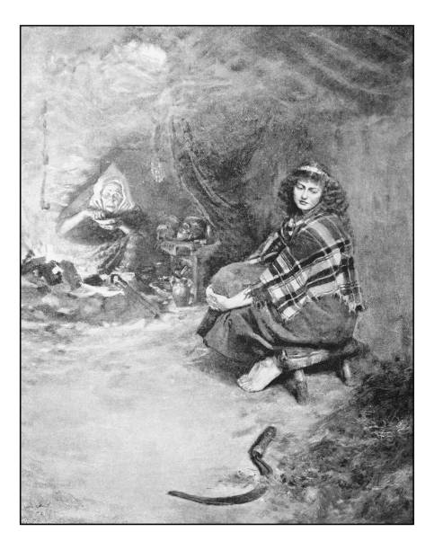 Antique photo of paintings: Woman and witch Antique dotprinted photo of paintings: Woman and witch love potion stock illustrations