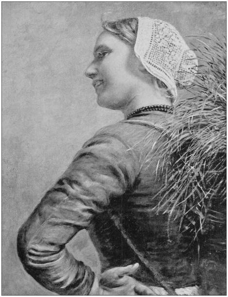 antique photo of paintings: woman - dutch traditional clothing stock illustrations, clip art, cartoons, & icons