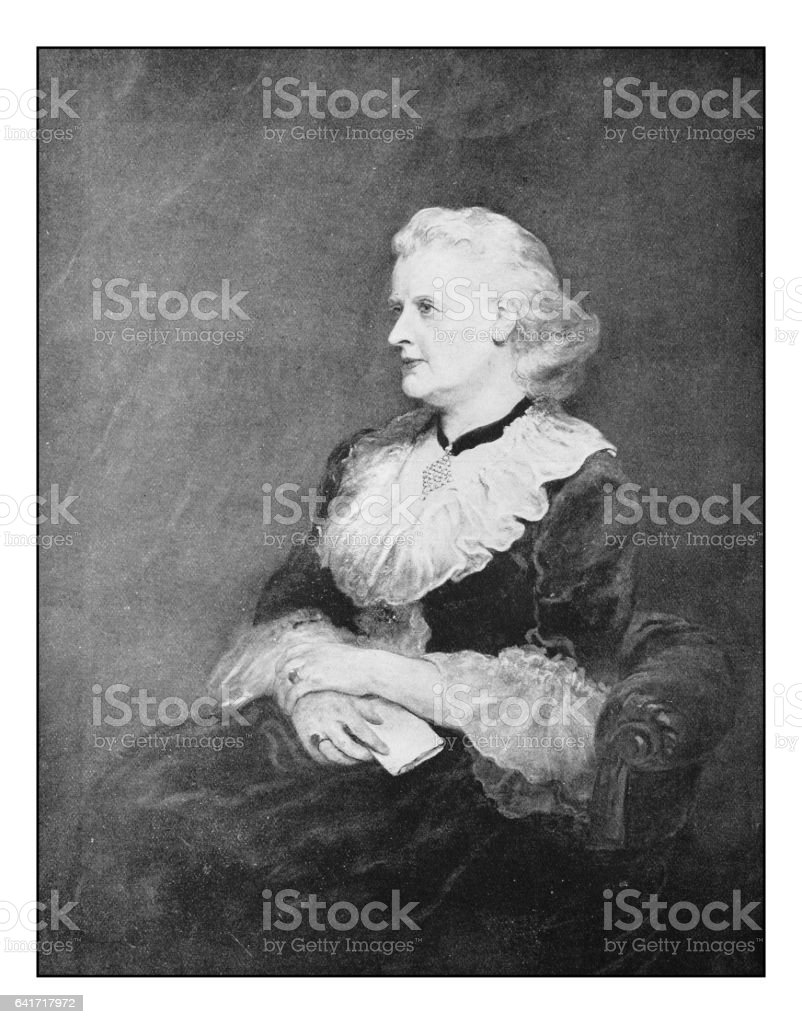 Antique photo of paintings: Woman portrait vector art illustration