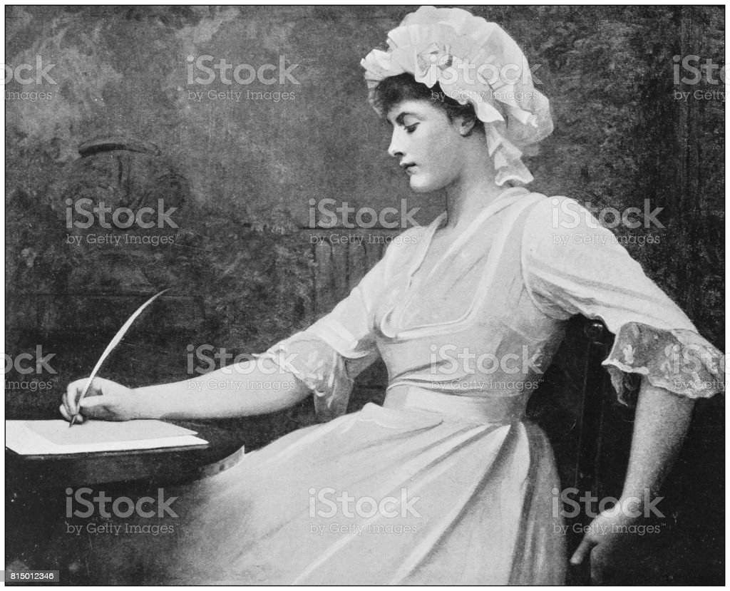 Antique photo of paintings: Woman writing vector art illustration