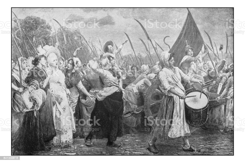 Antique photo of paintings: Women protesting vector art illustration