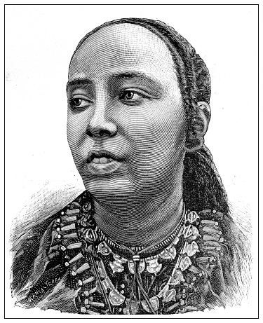 Antique photograph of the first Italo-Ethiopian war (1895-1896): Empress Taytu Betul