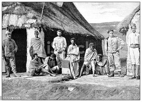 Antique photograph of the first Italo-Ethiopian war (1895-1896): Injured people