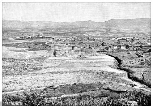 Antique photograph of the first Italo-Ethiopian war (1895-1896): Mekelle