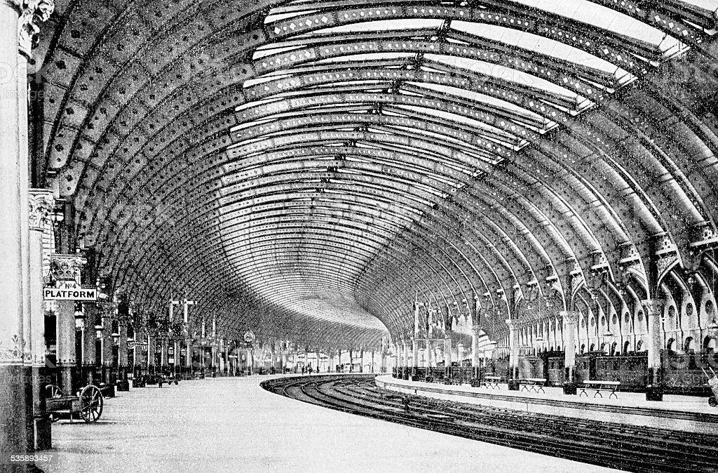 Antique photography-derived dot print illustration: York train station vector art illustration