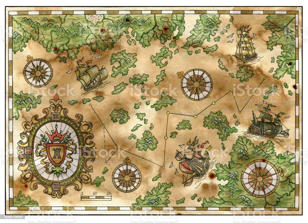 Ilustración De Mapa De Piratas Antiguos Tesoros Viejos Barcos Islas