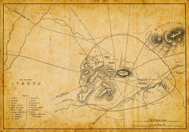 Antique plan of ancient Athens vector art illustration