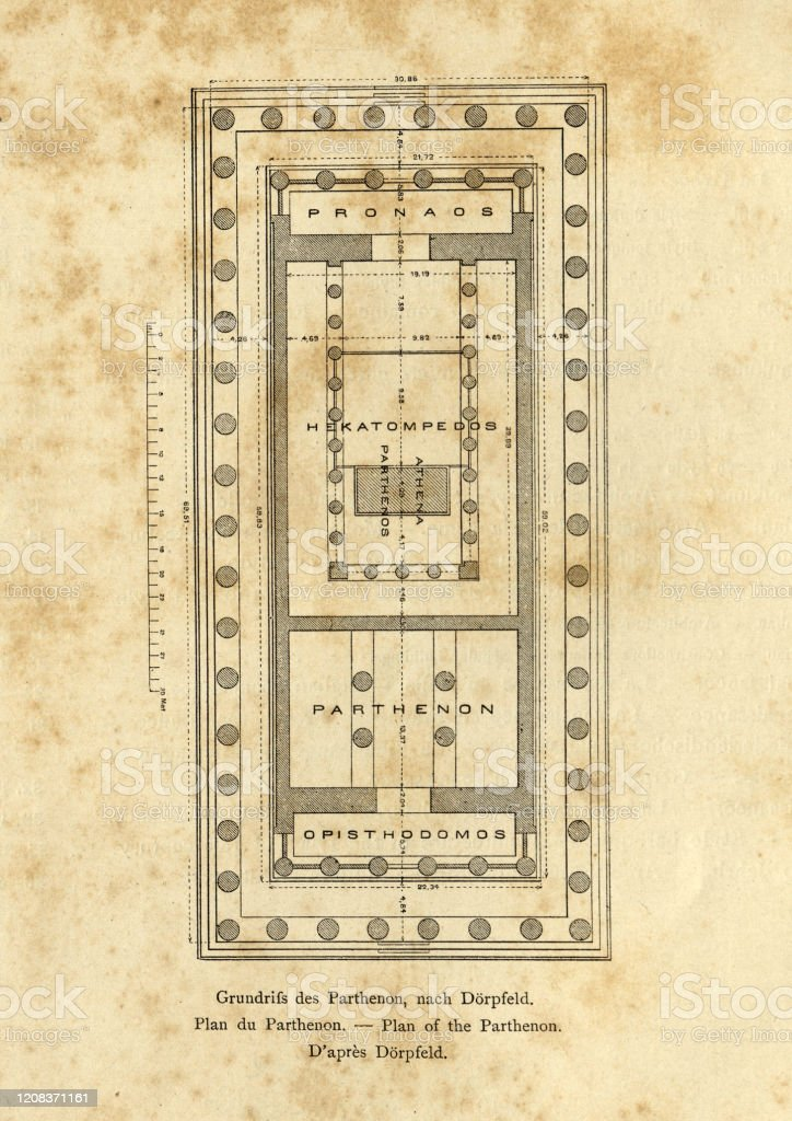 Antique Plan Of The Parthenon Athens Stock Illustration Download