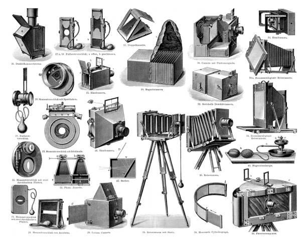 Antique plate camera equipment illustration 1897 vector art illustration