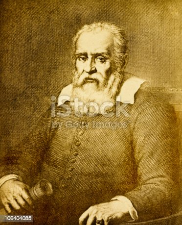 Galileo Galilei (1564 - 1642) was an astronomer and physicist in renaissance Italy. This vintage engraved portrait was made by Bellitini after a portrait by Passagnani in Florence. Published in an 1863 biography of Galileo, it is now in the public domain.
