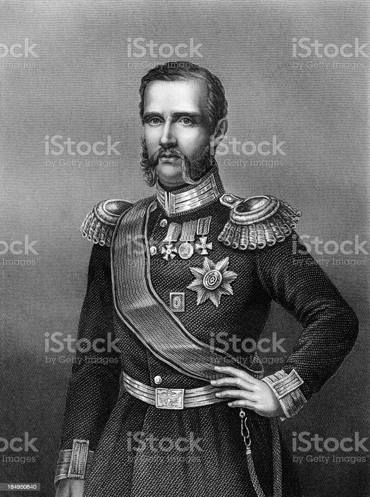 Antique Portrait of Russian Grand Duke Constantine Nikolayevich circa 1850s vector art illustration