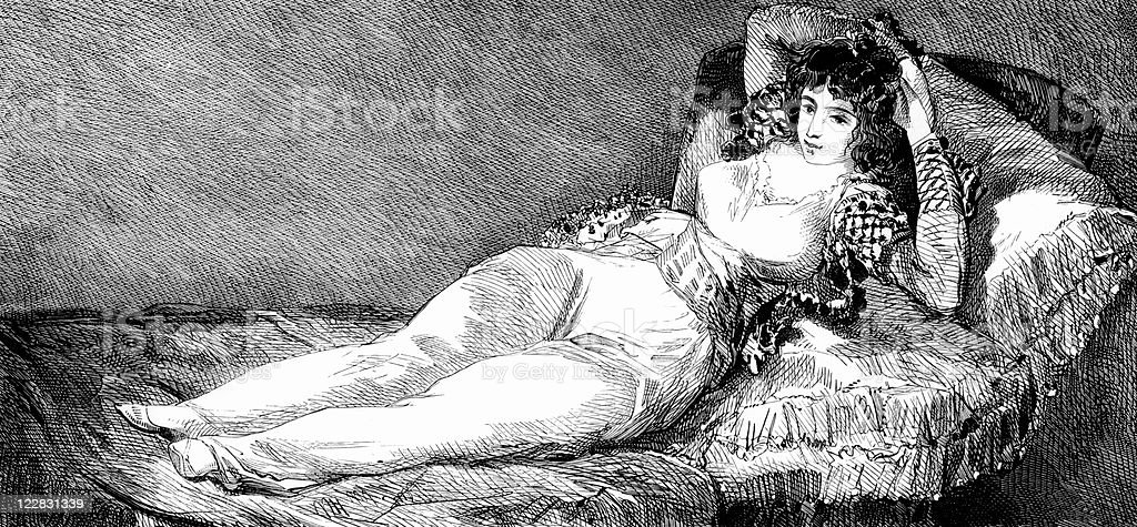 Antique Portrait of Spanish Woman Lying on Bed by Goya vector art illustration