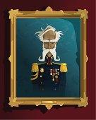 Old portrait of a stern gentleman officer.  Vector illustration with hi-res .jpg.