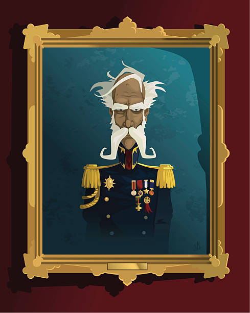 antique portrait of the major - old man funny pictures stock illustrations