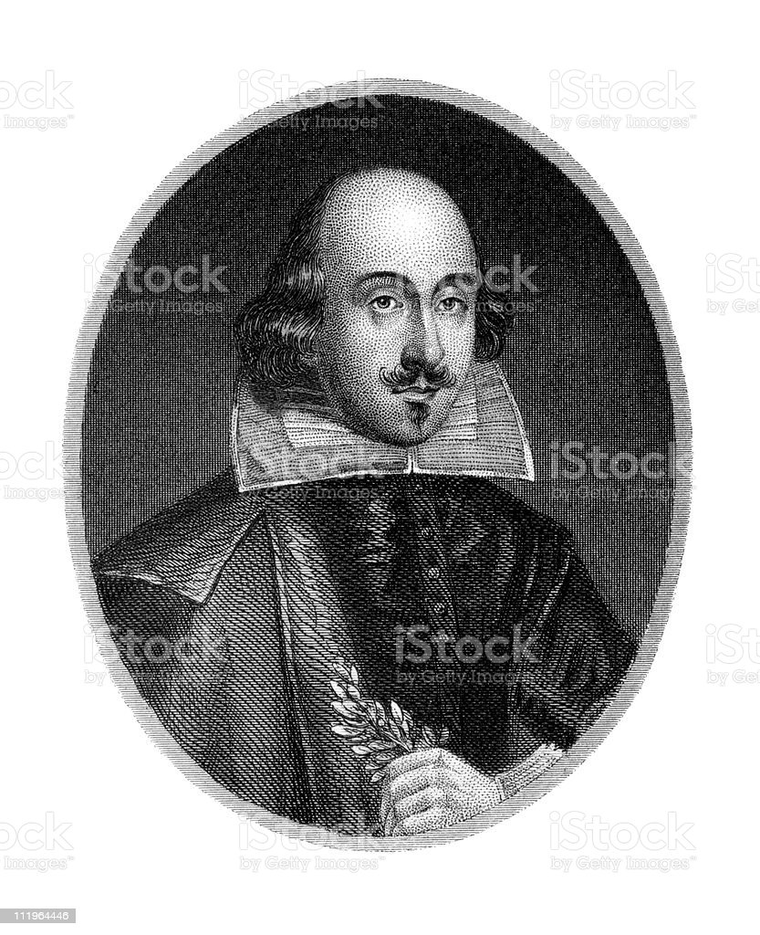 Antique Portrait of William Shakespeare vector art illustration