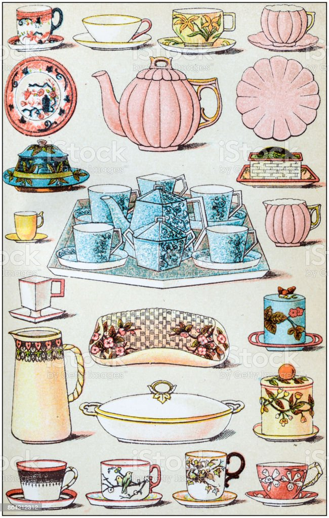 Antique recipes book engraving illustration: Crockery royalty-free antique recipes book engraving illustration crockery stock vector art & more images of 19th century