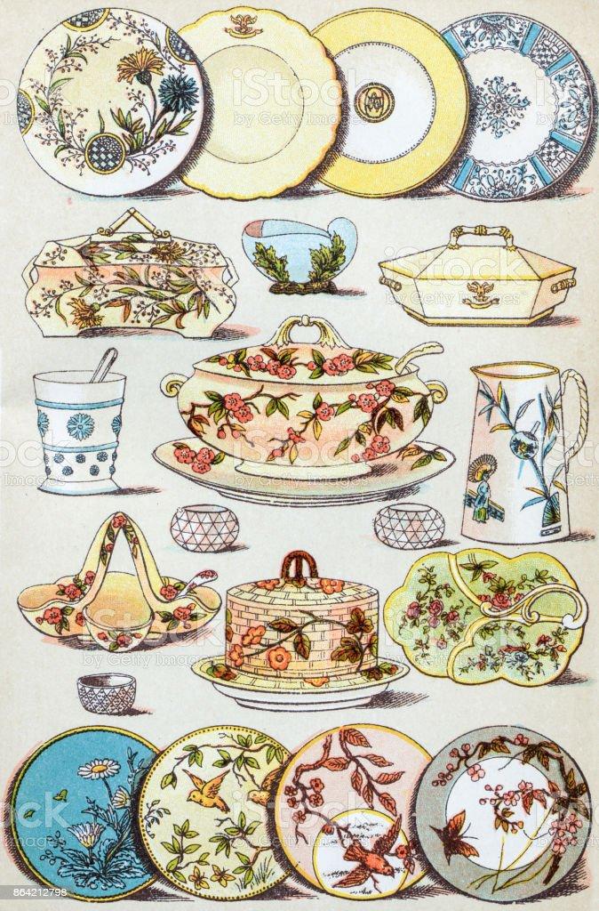 Antique recipes book engraving illustration: Crockery vector art illustration