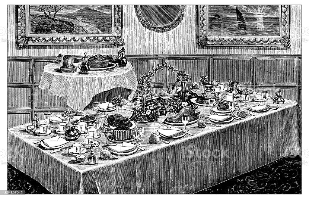 Antique recipes book engraving illustration: Dinner table vector art illustration