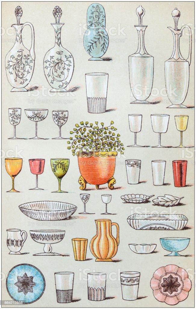 Antique recipes book engraving illustration: Glasses royalty-free antique recipes book engraving illustration glasses stock vector art & more images of 19th century