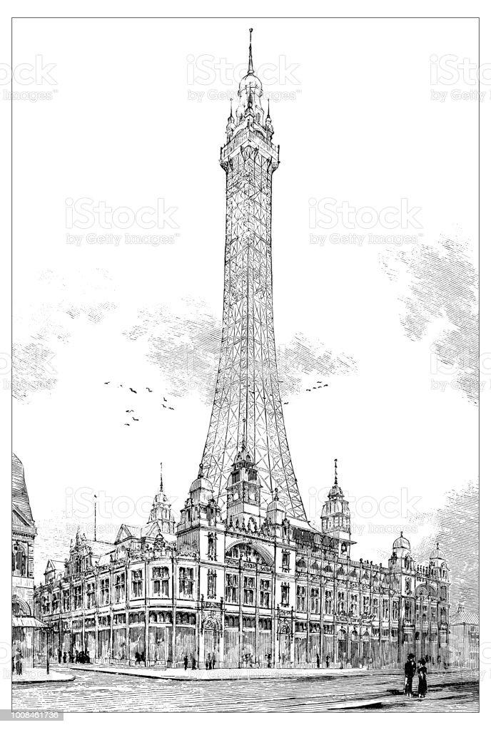 Antique scientific engraving illustration: Blackpool Tower vector art illustration