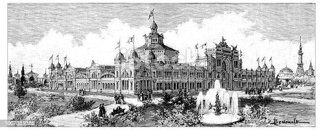 Antique scientific engraving illustration: Chicago Expo Building