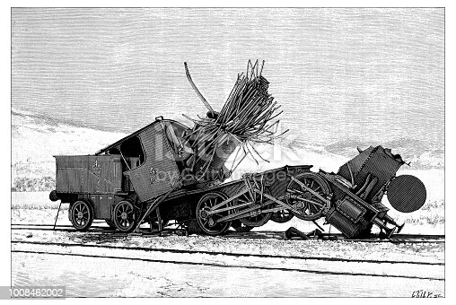 Antique scientific engraving illustration: Locomotive Explosion