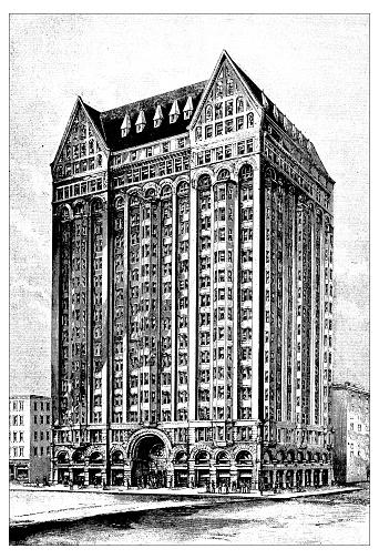 Antique scientific engraving illustration: Masonic Temple in Chicago