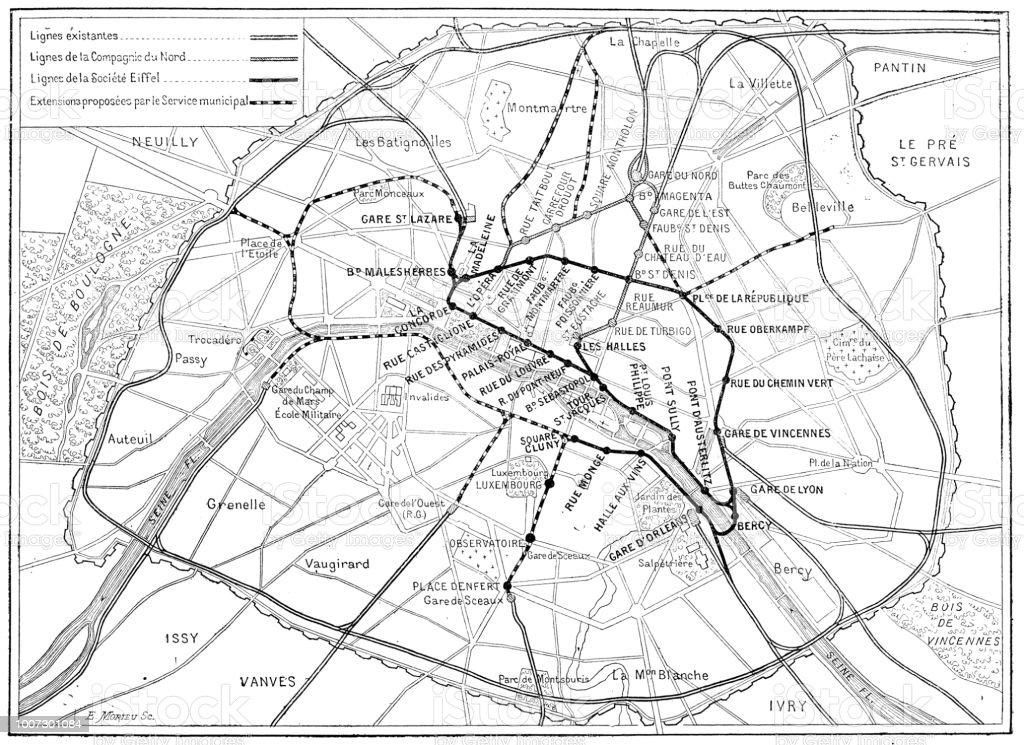 アンティークの科学的な彫刻イラスト パリのメトロ地図 19世紀の