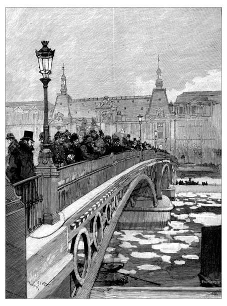 Antique scientific engraving illustration: Seine Bridge Paris in winter with ice Antique scientific engraving illustration: Seine Bridge Paris in winter with ice seine river stock illustrations