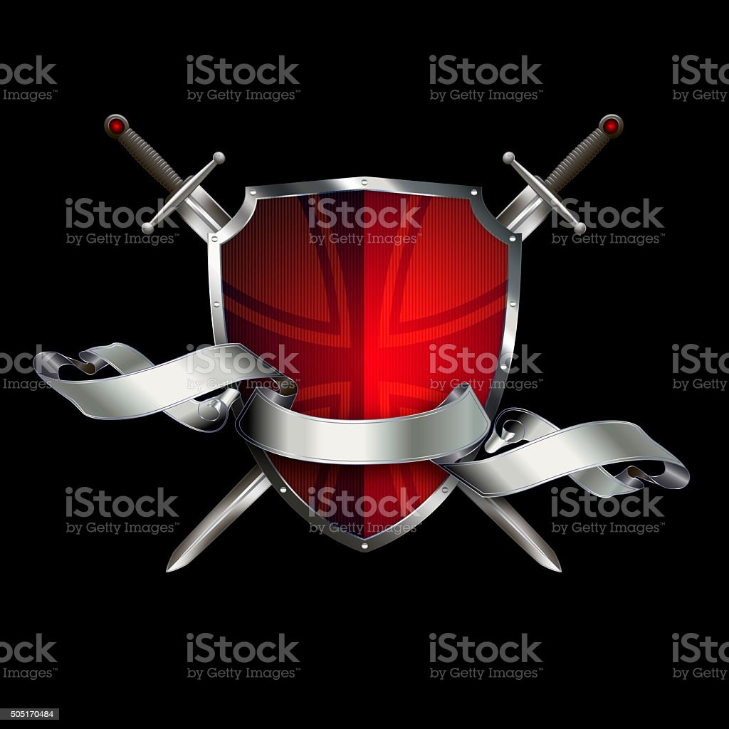 Antique shield with swords and ribbon. vector art illustration