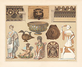 Antique terracotta: 1) Cyma and geison cladding of the treasury house of the Geloer in Olympia (Greece, 6th century BC); 2) Gargoyle from Pompeii; 3) Cyma of the Temple C in Selinus (Sicily, Italy, 6th century BC); 4) Campanian relief vase; 5) Southern Italian vase; 6) Roman pressed terracotta (Hermes); 7) Greek clay figure (Collection Pourtalès); 8) Athenian wine jug (winged dionysian eros); 9) Enthroned Athena (archaic); 10) Etruscan antefix (Juno Caprothina); 11) Dancer with castanets (melic relief figure). Chromolithograph, published in 1897.