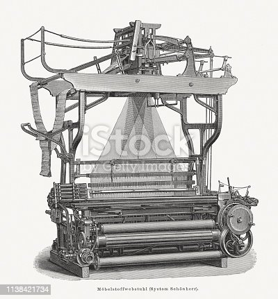 Antique upholstery fabric power loom, designed by Louis Schönherr (German engineer, 1817-1911). Wood engraving, published in 1897.
