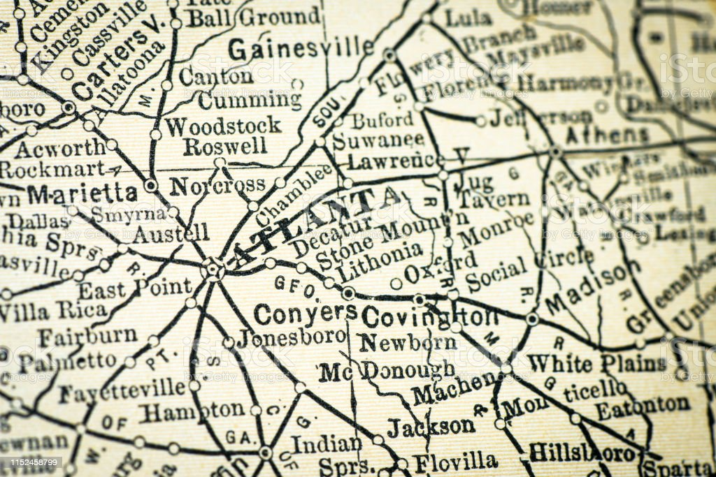 Atlanta Georgia On Map Of Usa.Antique Usa Map Closeup Detail Atlanta Georgia Stock Illustration