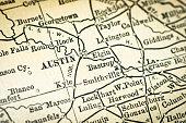 Antique USA map close-up detail: Austin, Texas