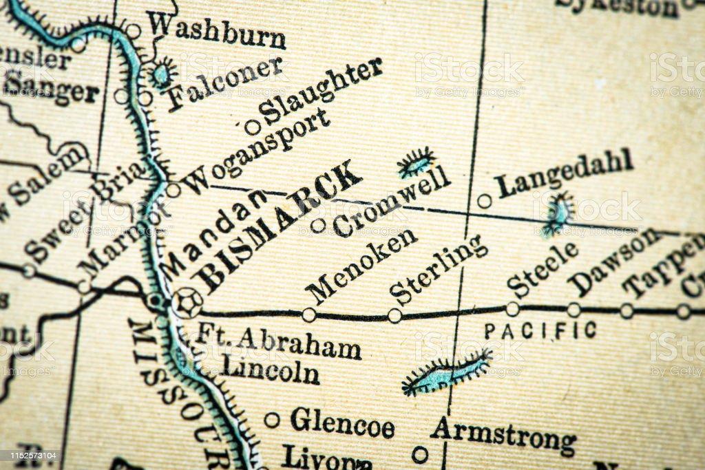 Antique Usa Map Closeup Detail Bismarck North Dakota Stock ...