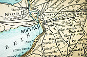 Antique USA map close-up detail: Buffalo, New York