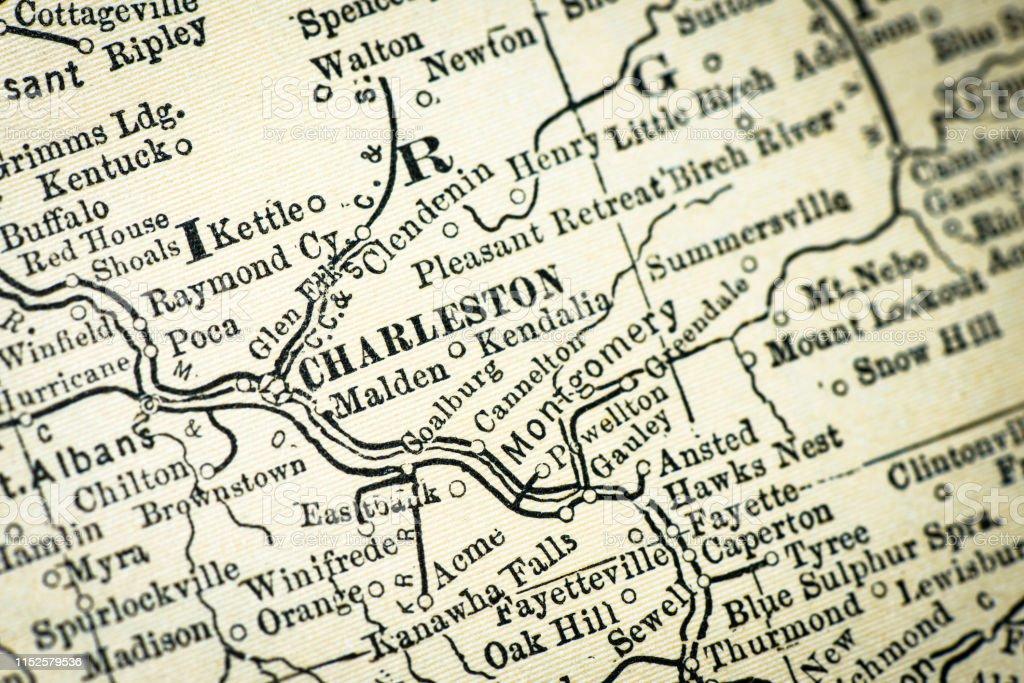 Antique Usa Map Closeup Detail Charleston West Virginia ...