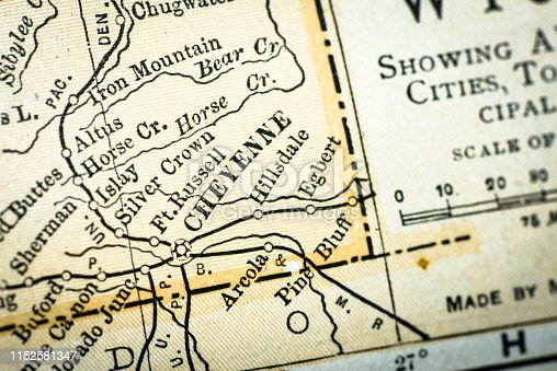 Antique USA map close-up detail: Cheyenne, Wyoming