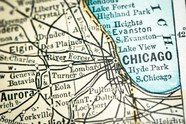 Antique USA map close-up detail: Chicago, Illinois vector art illustration