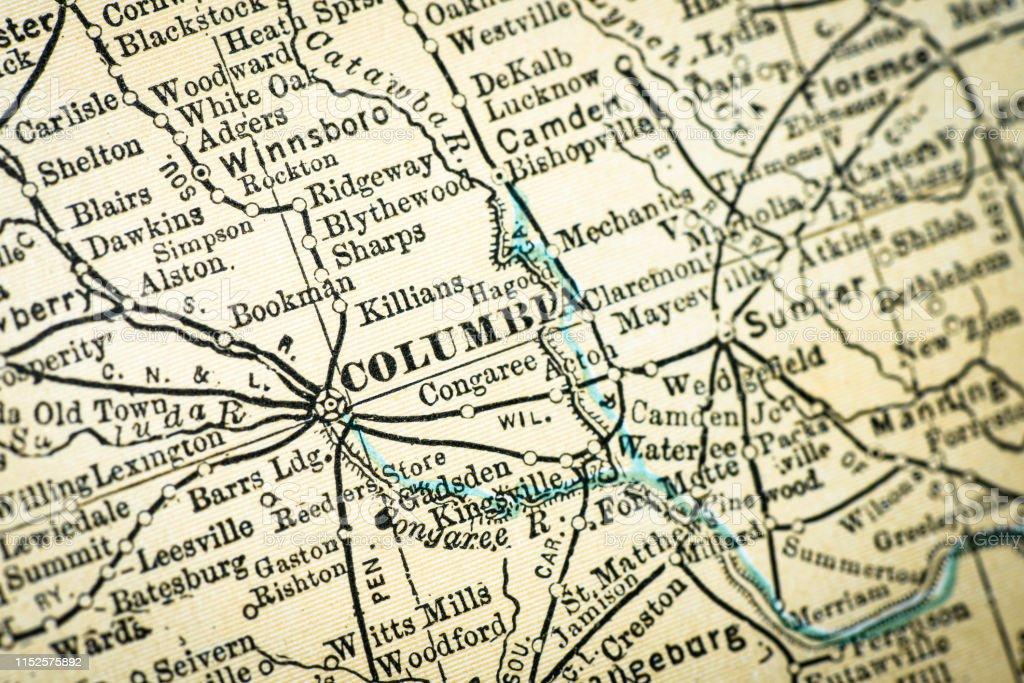 Antike Usa Maps Nahaufnahme Detail Columbia South Carolina ...